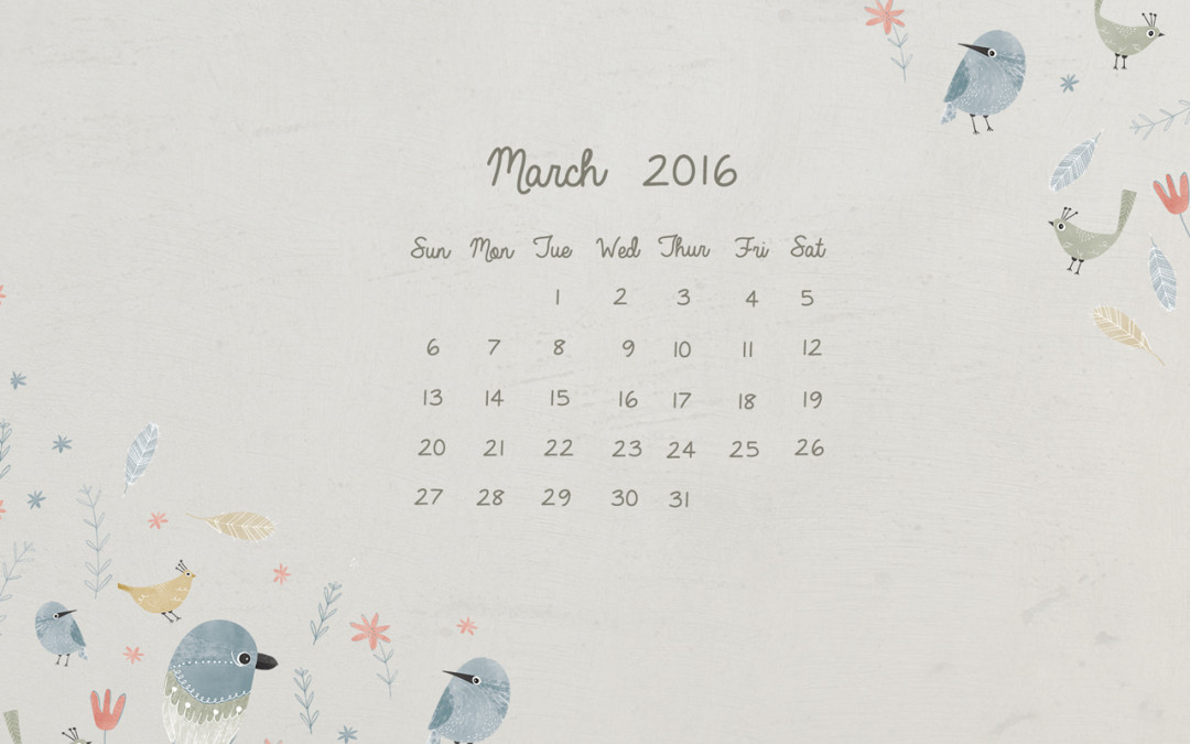 March 2016 Free Desktop Calendar Download