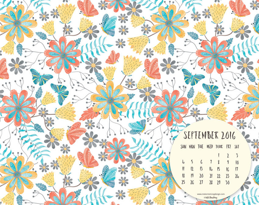 September 2016 Free Desktop Calendar Download