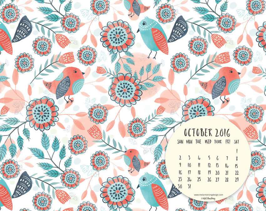OCTOBER 2016 FREE DESKTOP CALENDAR DOWNLOAD