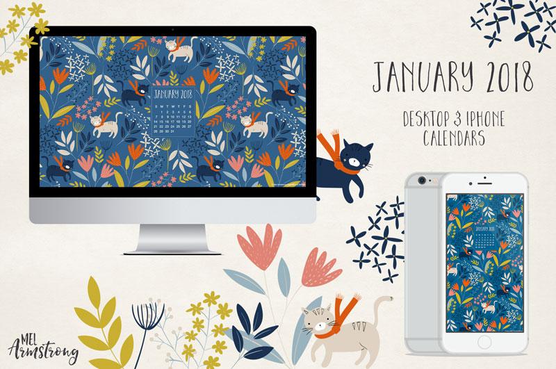 January 2018 Free Desktop Calendar Wallpaper Download Mel
