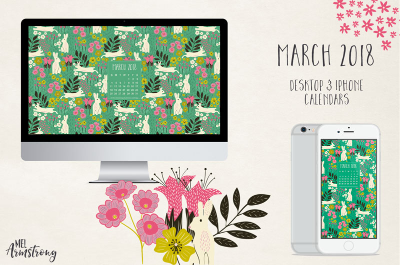 March 2018 Desktop Calendar Download
