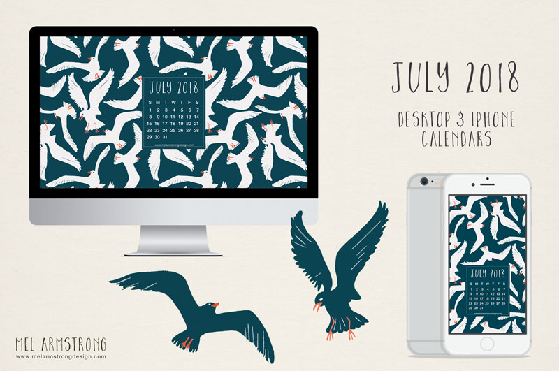 July 2018 FREE DESKTOP CALENDAR DOWNLOAD